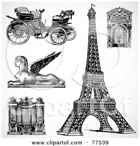 Royalty-Free (RF) Clipart Illustration of a Digital Collage Of Black And White Travel Icons by BestVector