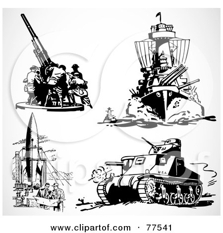 Royalty-Free (RF) Clipart Illustration of a Digital Collage Of Retro Black And White Military Weapons by BestVector