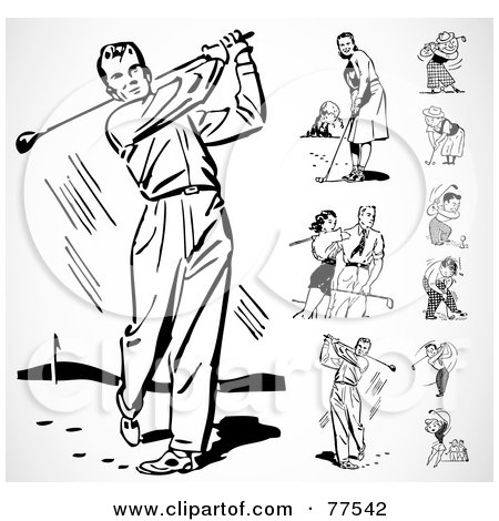 Royalty-Free (RF) Clipart Illustration of a Digital Collage Of Black And White Retro Men And Women Golfing by BestVector