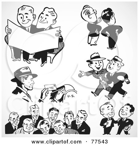 Royalty-Free (RF) Clipart Illustration of a Digital Collage Of Black And White Retro Mail Man And Business Men by BestVector