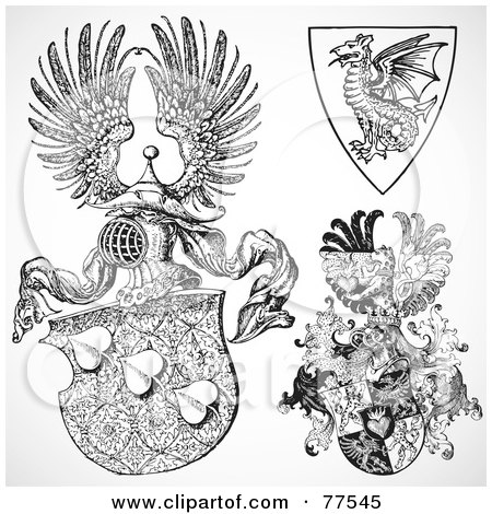 Royalty-Free (RF) Clipart Illustration of a Digital Collage Of Ornate Heraldic Fantasy Shields, by BestVector