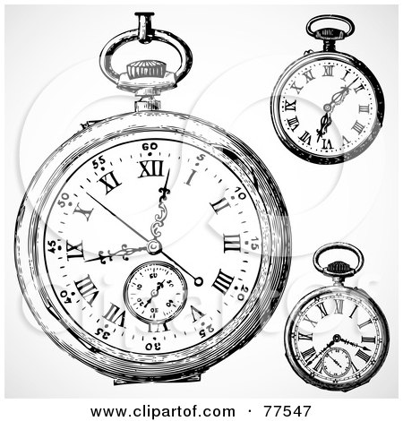 Royalty-Free (RF) Clipart Illustration of a Digital Collage Of Three Black And White Pocket Watches by BestVector