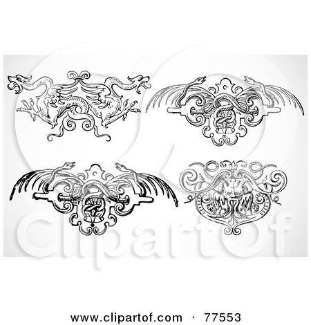 Royalty-Free (RF) Clipart Illustration of a Digital Collage Of Four Black And White Phoenix, Dragon, And Snake Fantasy Headers by BestVector