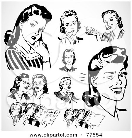 Royalty-Free (RF) Clipart Illustration of a Digital Collage Of Retro Black And White Ladies Thinking And Talking by BestVector