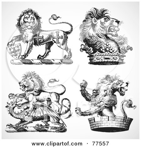 Royalty-Free (RF) Clipart Illustration of a Digital Collage Of Four Black And White Gothic Heraldic Lions by BestVector
