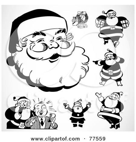 Royalty-Free (RF) Clipart Illustration of a Digital Collage Of Black And White Retro Santas by BestVector