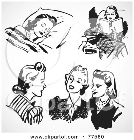 Royalty-Free (RF) Clipart Illustration of a Digital Collage Of Retro Black And White Women Sleeping, Reading And Chatting by BestVector