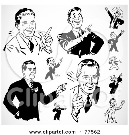 Royalty-Free (RF) Clipart Illustration of a Digital Collage Of Black And White Retro Pointing Businessmen by BestVector