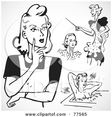 Royalty-Free (RF) Clipart Illustration of a Digital Collage Of Retro Ladies by BestVector