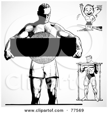 Royalty-Free (RF) Clipart Illustration of a Digital Collage Of Black And White Retro Bodybuilders by BestVector