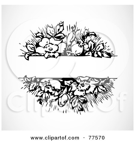 Royalty-Free (RF) Clipart Illustration of a Black And White Floral Text Bar by BestVector