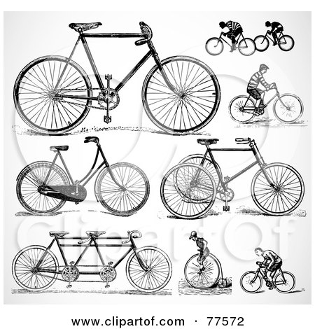 Royalty-Free (RF) Clipart Illustration of a Digital Collage Of Old Fashioned Bicycles by BestVector