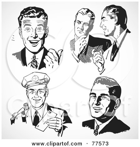 Royalty-Free (RF) Clipart Illustration of a Digital Collage Of Five Black And White Retro Business Men by BestVector