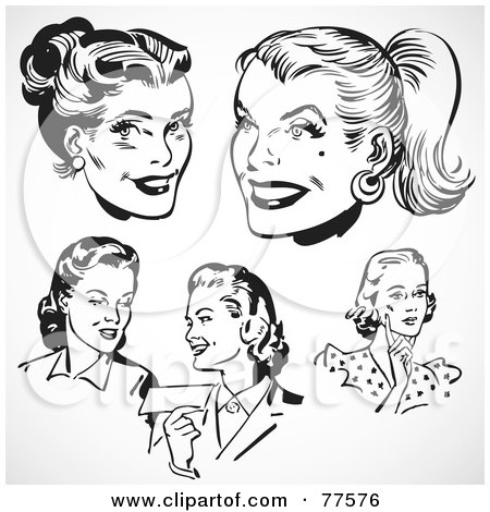 Royalty-Free (RF) Clipart Illustration of a Digital Collage Of Retro Black And White Female Faces by BestVector