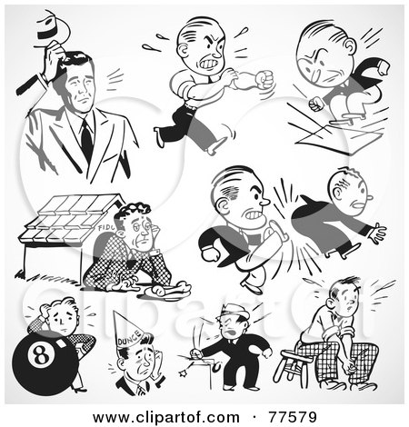 Royalty-Free (RF) Clipart Illustration of a Digital Collage Of Retro Black And White Upset And Mad Businessmen by BestVector