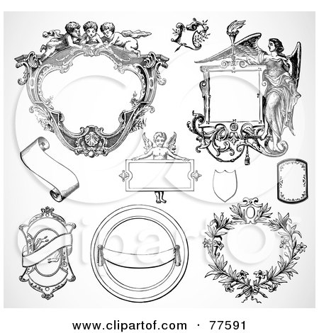 Royalty-Free (RF) Clipart Illustration of a Digital Collage Of Frame Design Elements, Black And White - Version 1 by BestVector