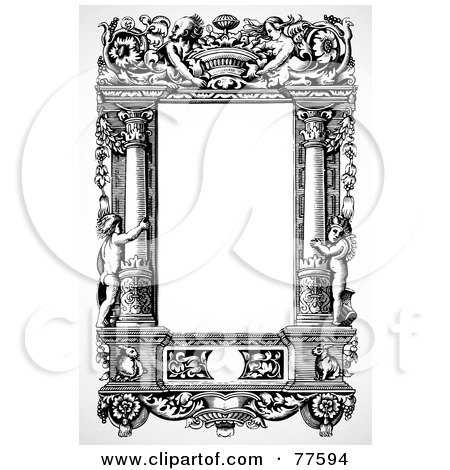 Royalty-Free (RF) Clipart Illustration of a Black And White Angel And Column Frame by BestVector