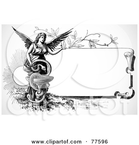 Royalty-Free (RF) Clipart Illustration of a Black And White Scroll Sign With An Angel And Snake by BestVector
