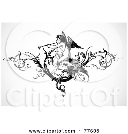 Royalty-Free (RF) Clipart Illustration of a Black And White Angel Playing A Trumpet Header by BestVector