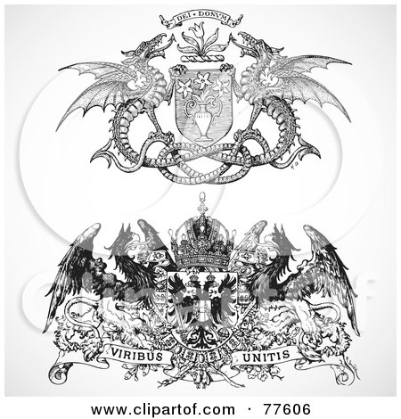Royalty-Free (RF) Clipart Illustration of a Digital Collage Of Two Black And White Heraldic Phoenix And Dragon Headers by BestVector