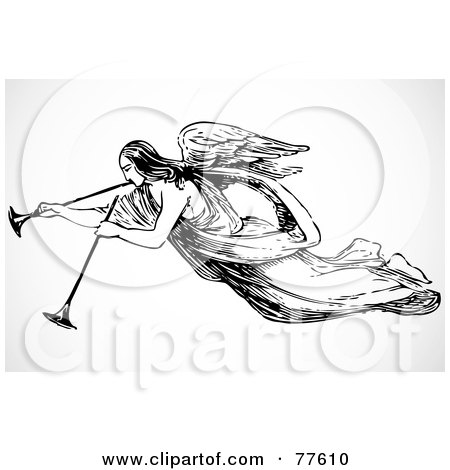 Royalty-Free (RF) Clipart Illustration of a Black And White Angel With Two Trumpets by BestVector