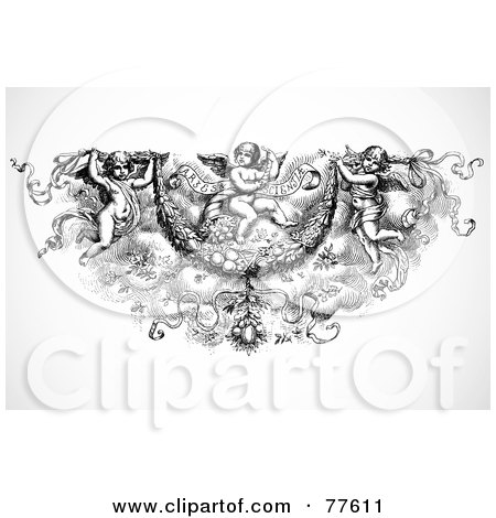 Royalty-Free (RF) Clipart Illustration of a Black And White Angel Trio Header by BestVector