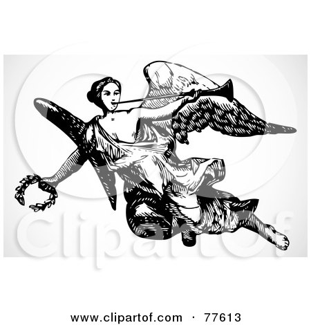 Royalty-Free (RF) Clipart Illustration of a Black And White Angel Carrying A Trumpet And Laurel by BestVector