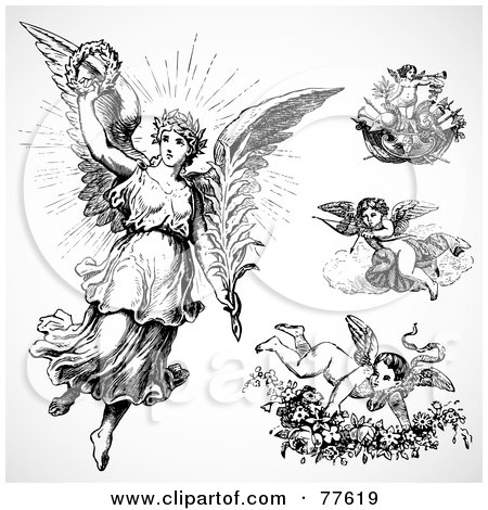 Royalty-Free (RF) Clipart Illustration of a Digital Collage Of Four Angels And Cupids by BestVector