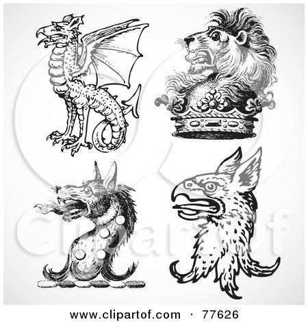Royalty-Free (RF) Clipart Illustration of a Digital Collage Of Four Fantasy Heads by BestVector