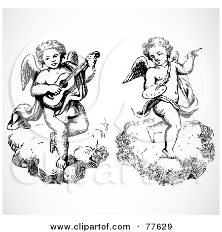 Royalty-Free (RF) Clipart Illustration of a Digital Collage Of Two Black And White Angels On Clouds; Musician And Artist by BestVector