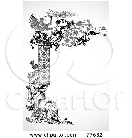 Royalty-Free (RF) Clipart Illustration of a Black And White Dragon Left Edge Border by BestVector
