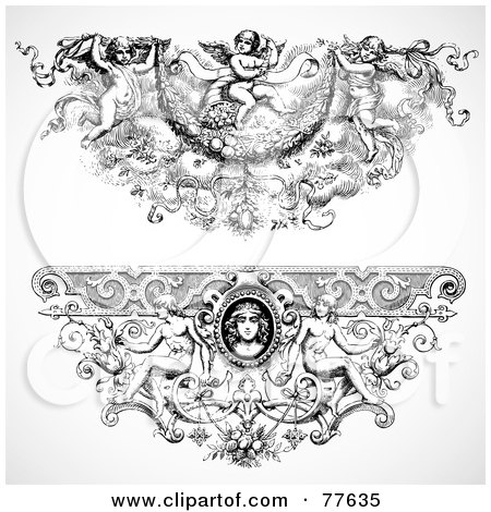 Royalty-Free (RF) Clipart Illustration of a Digital Collage Of Two Elegant Angel Baroque Headers by BestVector