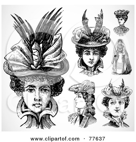Royalty-Free (RF) Clipart Illustration of a Digital Collage Of Fashionable Historical Women Wearing Hats by BestVector