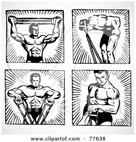 Royalty-Free (RF) Clipart Illustration of a Digital Collage Of Four Black And White Poses Of A Body Builder by BestVector