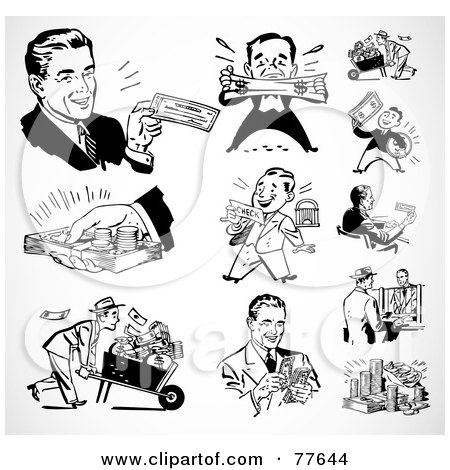 Royalty-Free (RF) Clipart Illustration of a Digital Collage Of Retro Black And White Wealthy Businessmen by BestVector