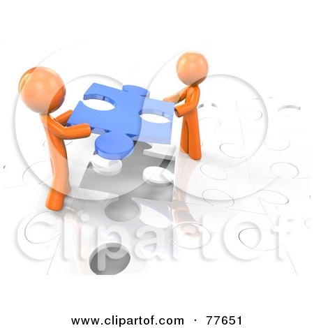 Royalty-Free (RF) Clipart Illustration of Two 3d Orange Factor Men Using A Blue Piece To Complete A White Jigsaw Puzzle by Leo Blanchette