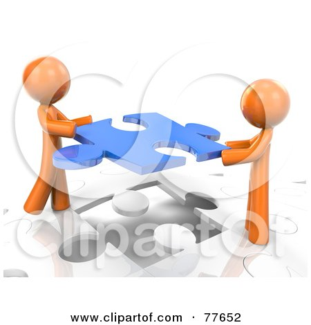 Royalty-Free (RF) Clipart Illustration of Two 3d Orange Factor Men Inserting A Blue Piece Into A Jigsaw Puzzle by Leo Blanchette