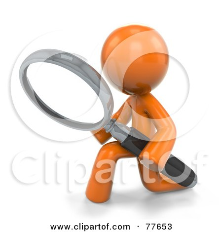 3d Orange Factor Man Kneeling And Searching With A Magnifying Glass Posters, Art Prints