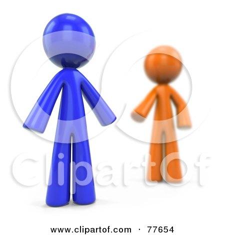 Blurred 3d Orange Factor Man Reaching For A Blue Man Posters, Art Prints