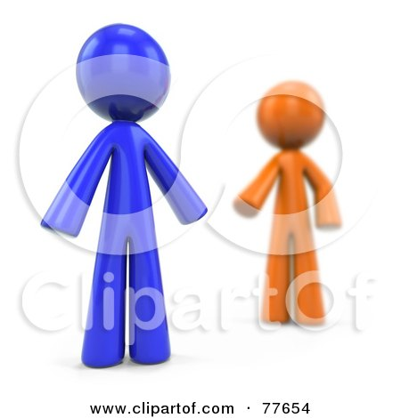 Royalty-Free (RF) Clipart Illustration of a Blurred 3d Orange Factor Man Reaching For A Blue Man by Leo Blanchette