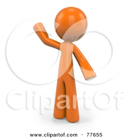 Royalty-Free (RF) Clipart Illustration of a 3d Orange Factor Man Standing And Waving by Leo Blanchette