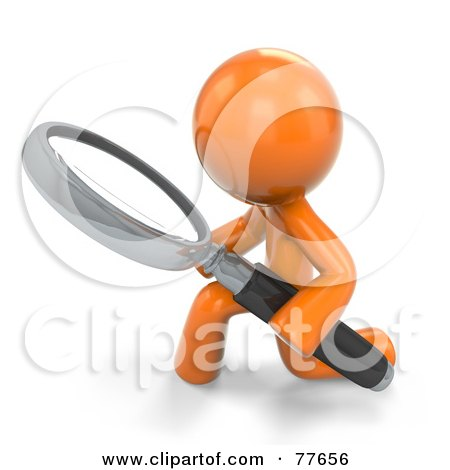 Royalty-Free (RF) Clipart Illustration of a 3d Orange Factor Man Kneeling And Using A Magnifying Glass by Leo Blanchette