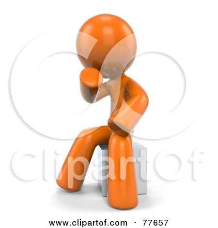 Royalty-Free (RF) Clipart Illustration of a 3d Orange Factor Man Sitting In Thought by Leo Blanchette