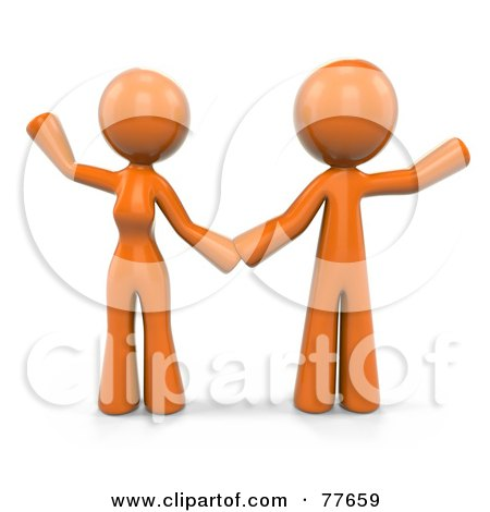 Royalty-Free (RF) Clipart Illustration of a 3d Orange Factor Couple Holding Hands And Waving by Leo Blanchette