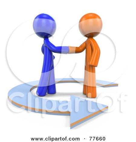 3d Orange And Blue Factor Men Shaking Hands In An Arrow Posters, Art Prints