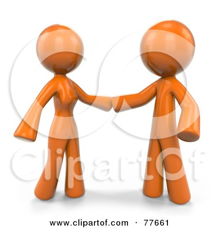 Royalty-Free (RF) Clipart Illustration of a 3d Orange Factor Couple Reaching For Each Other by Leo Blanchette