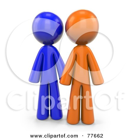Royalty-Free (RF) Clipart Illustration of 3d Orange And Blue Factor Men Standing by Leo Blanchette