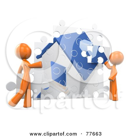 Royalty-Free (RF) Clipart Illustration of a 3d Orange Factor Couple Assembling Their Puzzle House by Leo Blanchette
