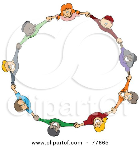 Circle Of Diverse Happy Cartoon Children Holding Hands And Looking Up Poster