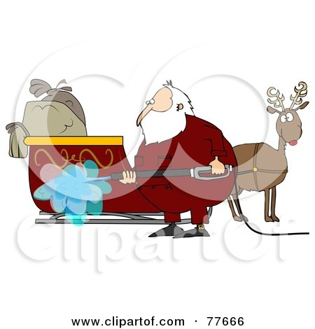Royalty-Free (RF) Clipart Illustration of Santa Spraying Down His Sleigh With A Pressure Washer by djart